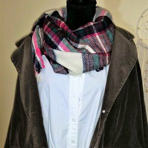 Pink Plaid Scarf- NWT